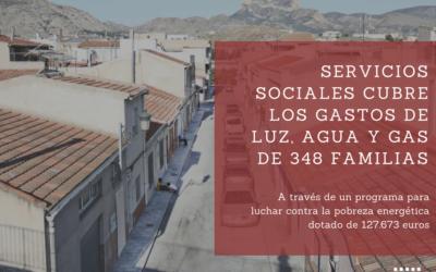 Servicios Sociales ha cubierto los gastos de luz, agua y gas de 348 familias en 2017