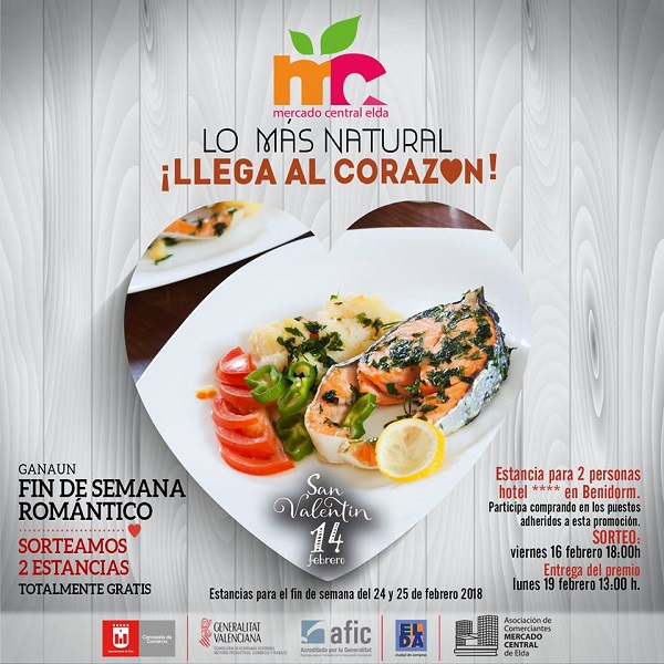 El Mercado Central de Elda sortea dos fines de semana románticos para celebrar San Valentín