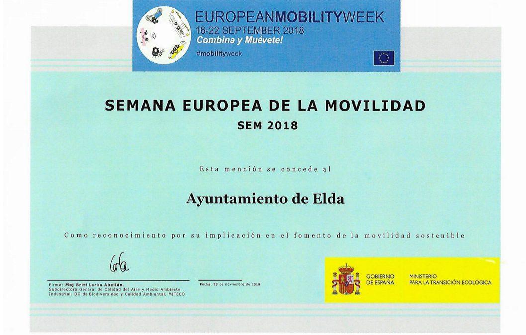 El Ministerio para la Transición Ecológica premia el trabajo de Elda durante la Semana Europea de la Movilidad