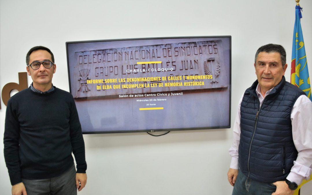 El Ayuntamiento de Elda inicia el proceso para cambiar el callejero y adecuarlo a la Ley de Memoria Histórica