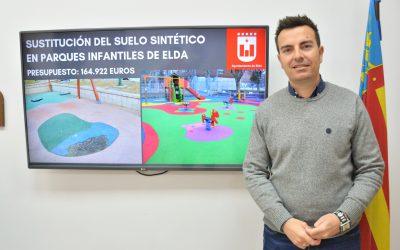 El Ayuntamiento de Elda sustituirá 4.247 metros cuadrados de pavimento sintético deteriorado en diferentes parques y jardines