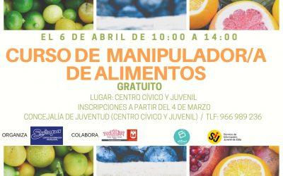 La Concejalía de Juventud organiza un curso de Manipulador de Alimentos