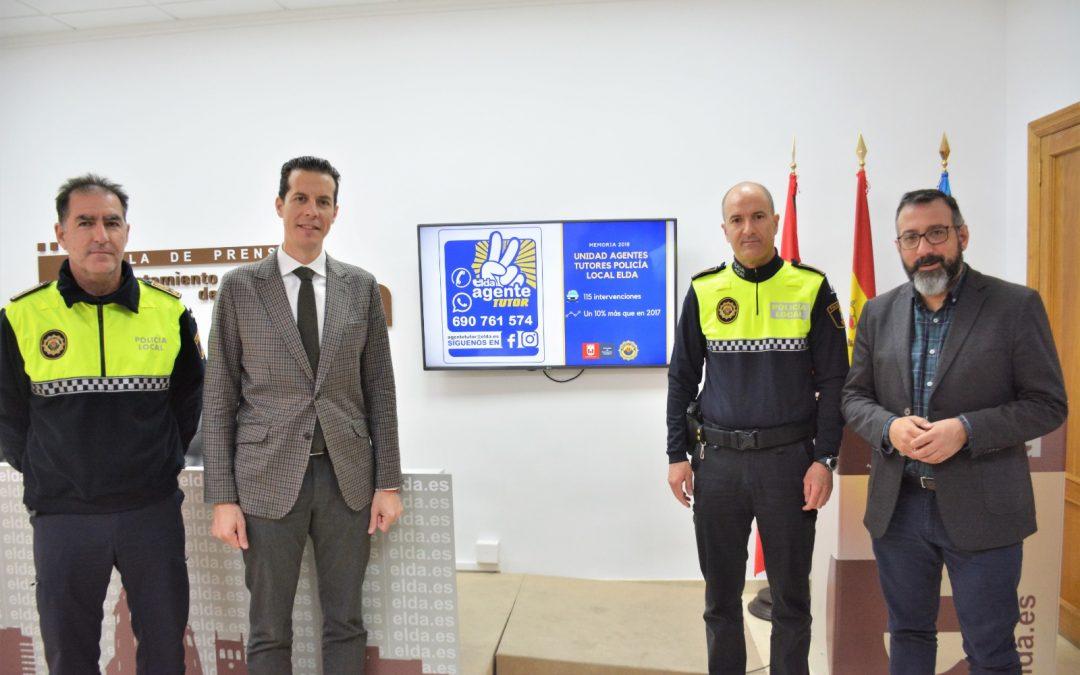 La Unidad Agente Tutor de la Policía Local de Elda ha realizado un total de 115 intervenciones con menores en 2018