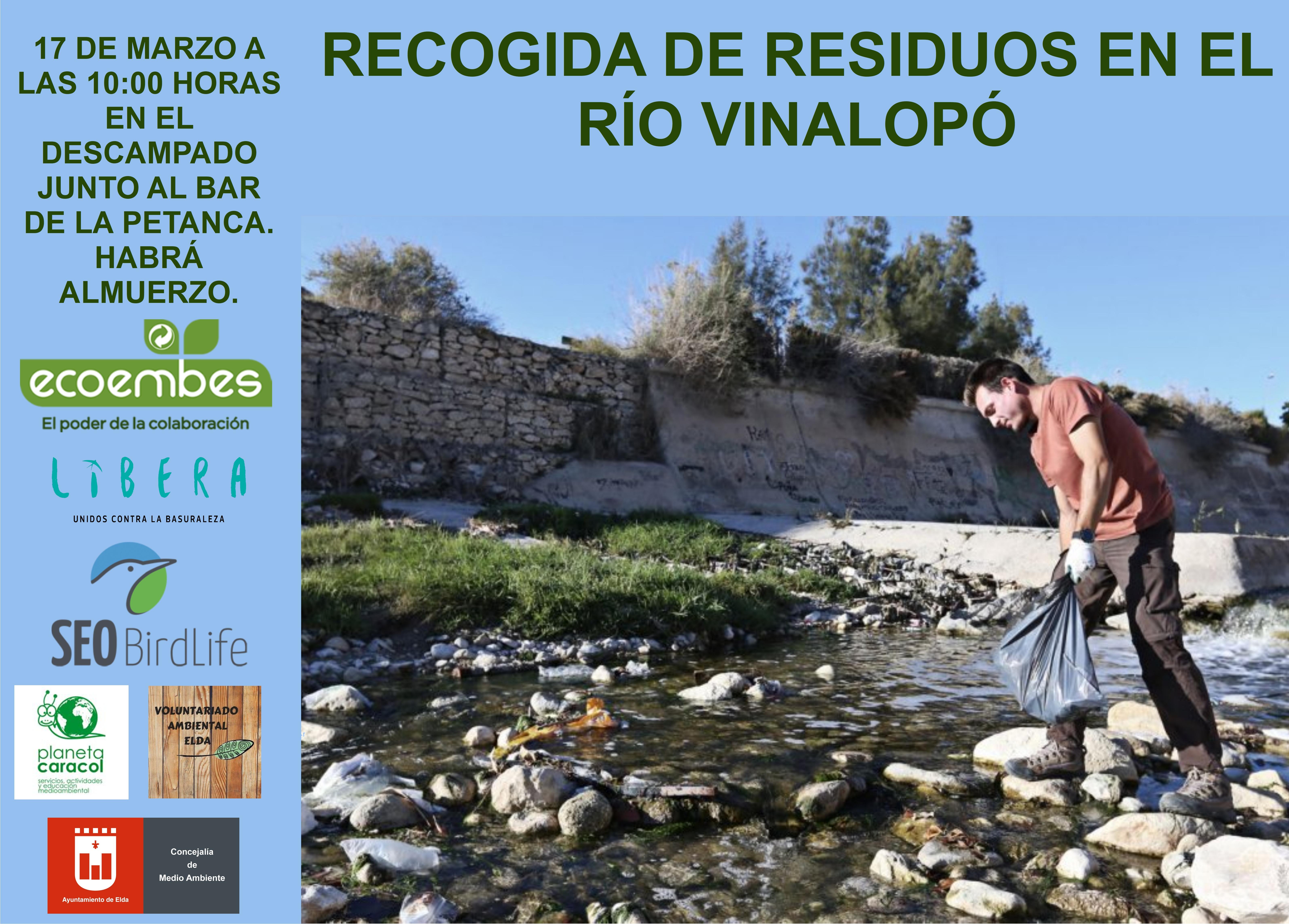 Elda organiza una jornada para limpiar el río Vinalopó el próximo domingo 17 de marzo