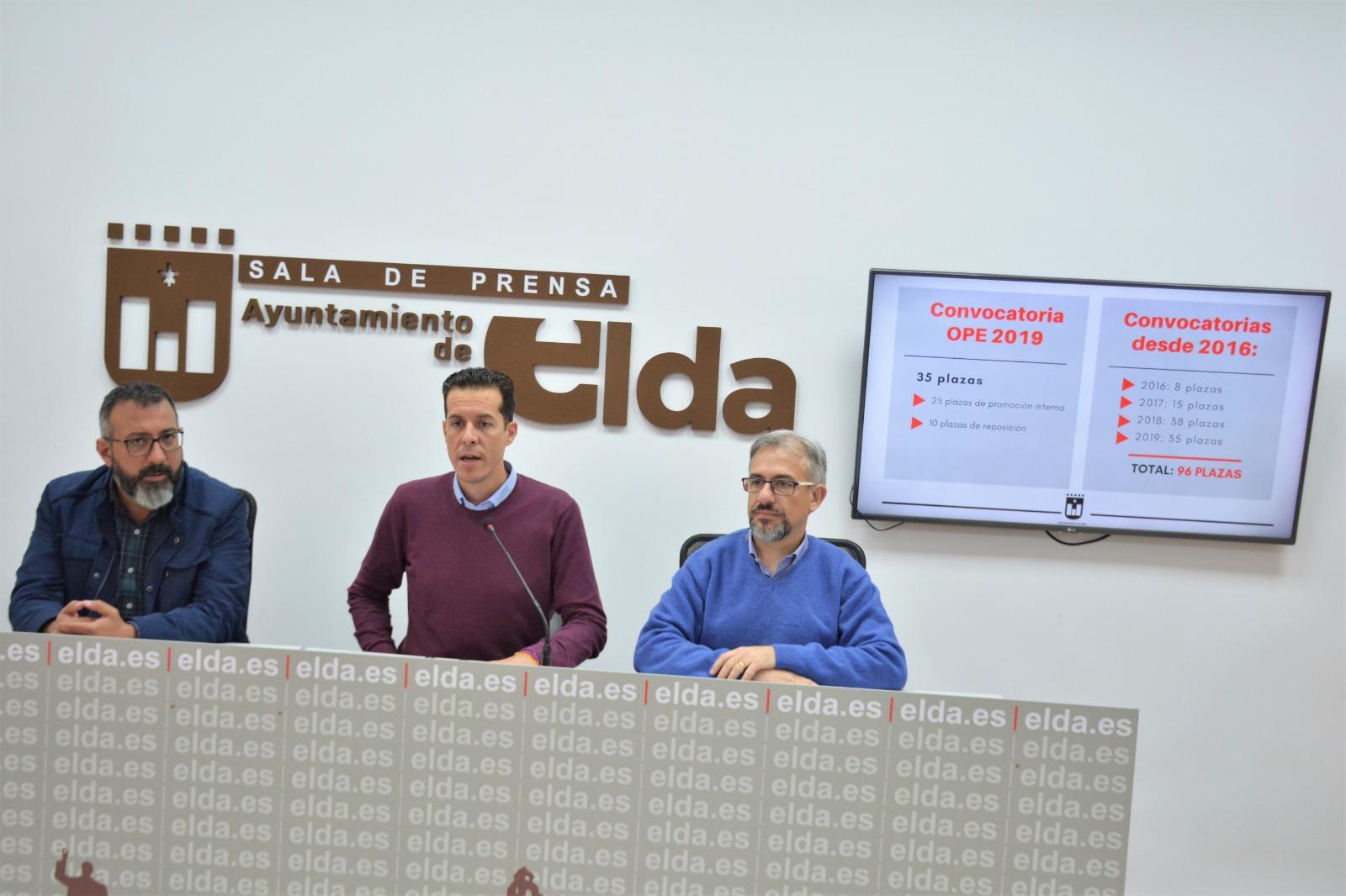 El Ayuntamiento de Elda oferta 35 plazas de empleo público y reducirá la tasa de temporalidad por debajo del 8%