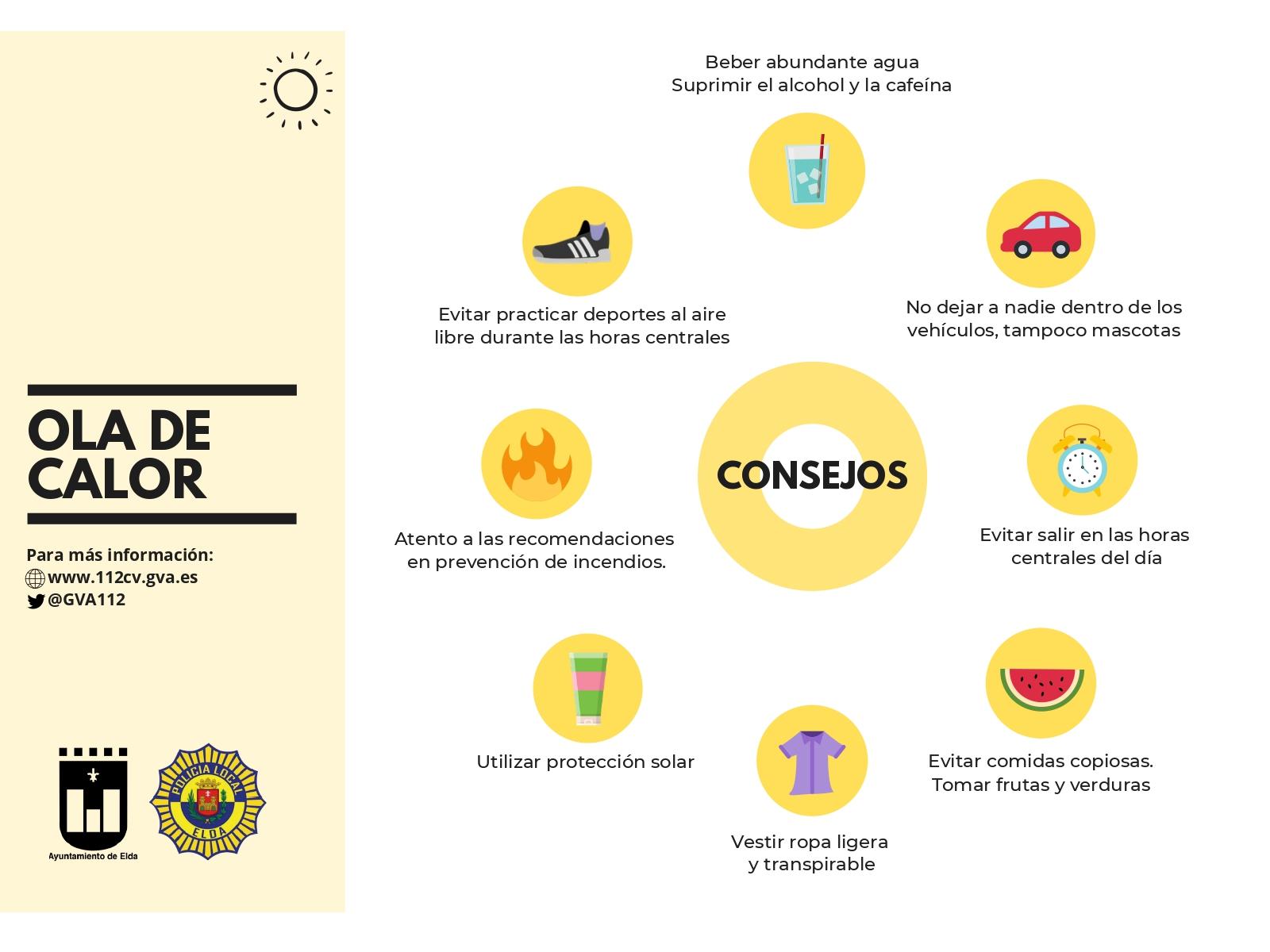 El Ayuntamiento de Elda advierte de los riesgos de la ola de calor e insta a la población a tomar medidas preventivas ante las altas temperaturas