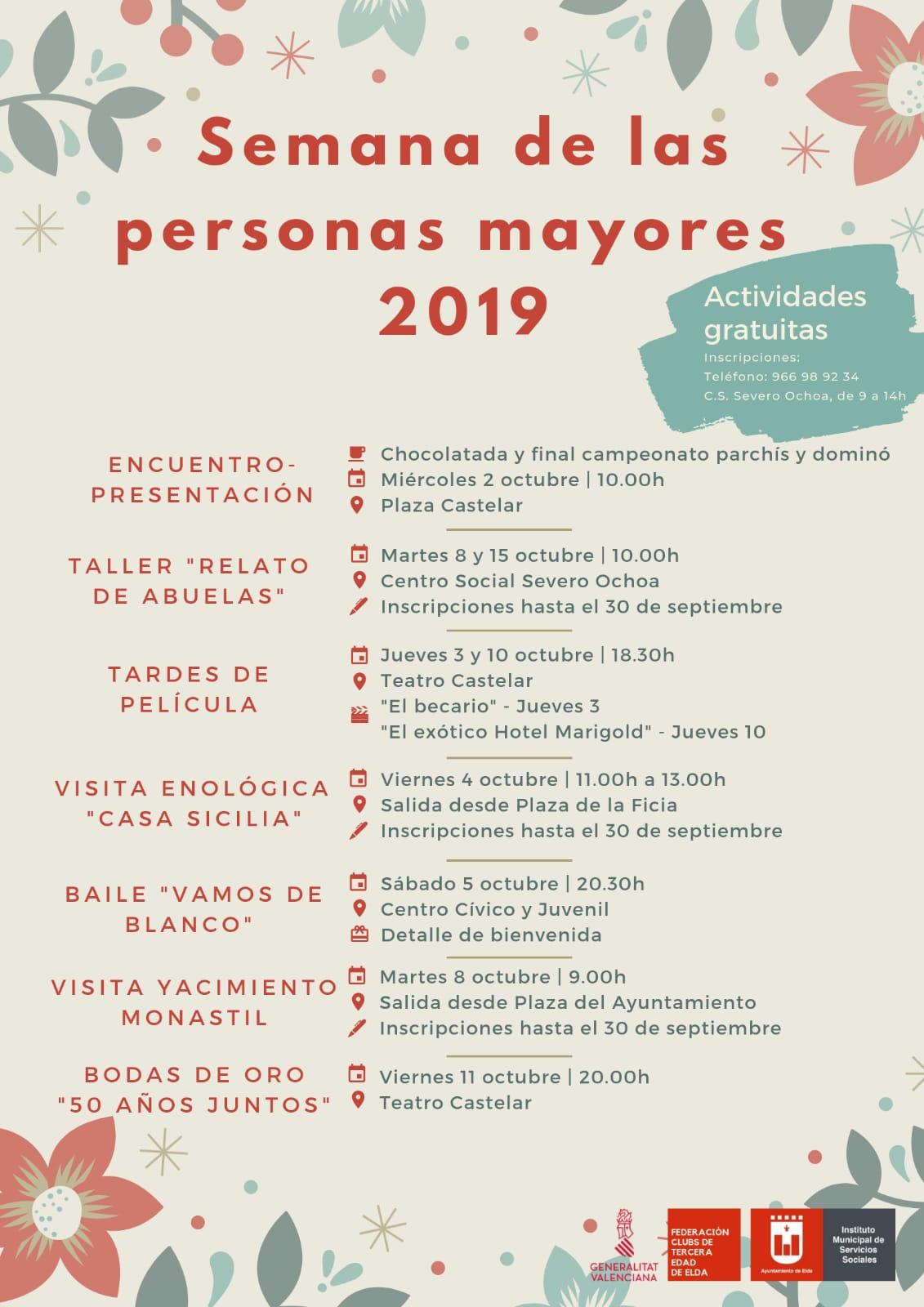 El Ayuntamiento espera contar con la participación de medio millar de personas en la Semana de los Mayores