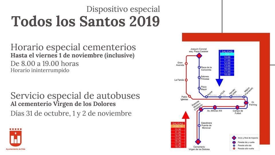 El Ayuntamiento ofrece un servicio especial de autobuses al cementerio Virgen de los Dolores