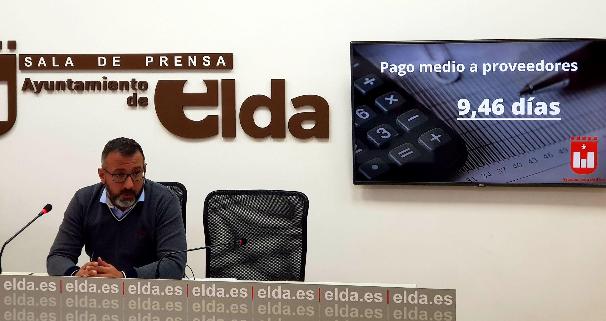 El Ayuntamiento de Elda sitúa en 9,46 días el Plazo Medio de Pago a proveedores