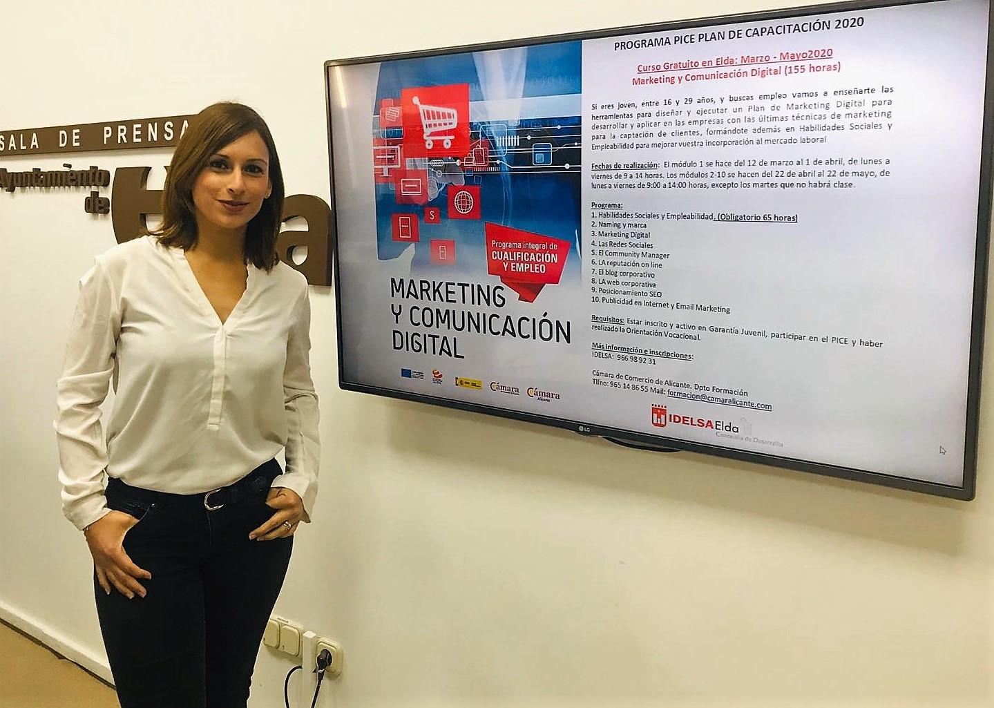 El Ayuntamiento de Elda presenta un curso de Marketing y Comunicación Digital para fomentar el empleo juvenil
