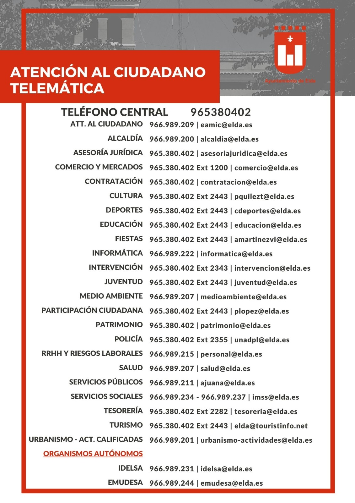 El Ayuntamiento de Elda informa de las vías de contacto para atención ciudadana telemática
