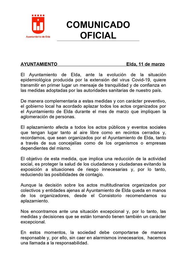 El Ayuntamiento de Elda aplaza todos sus actos y eventos públicos multitudinarios del mes de marzo