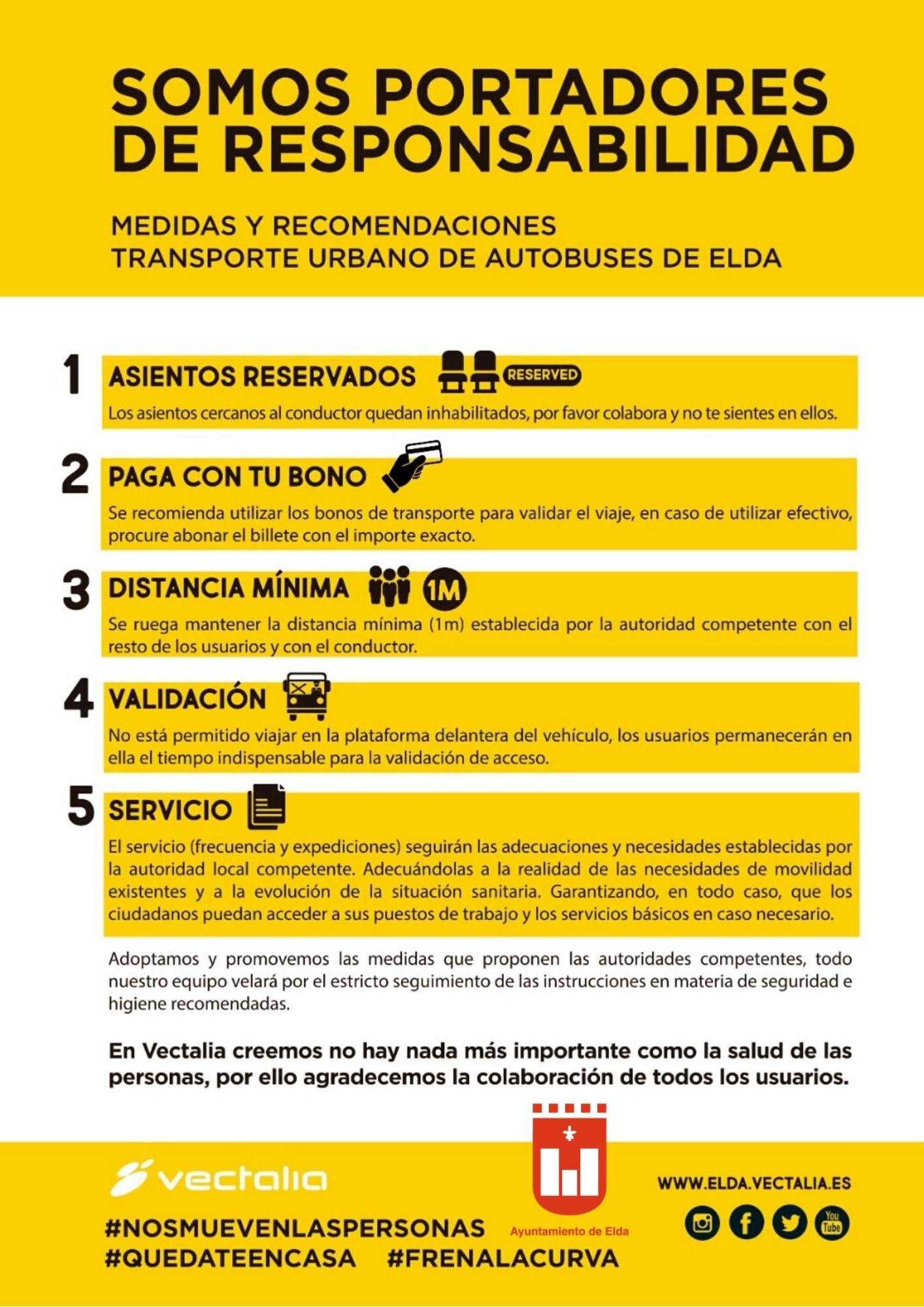 El Ayuntamiento de Elda mantiene el servicio de autobuses urbanos y adapta los horarios a la declaración del estado de alarma