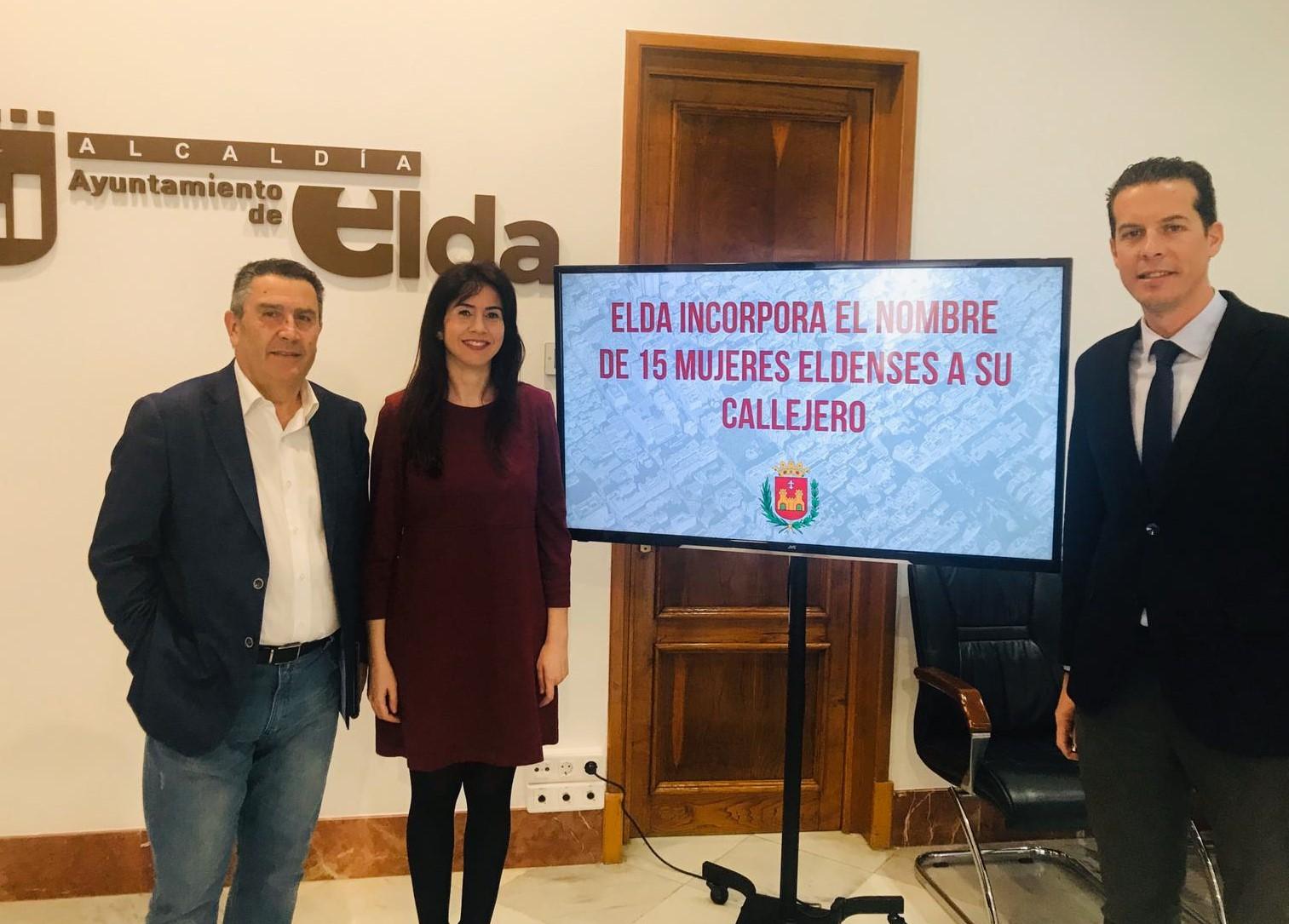 Elda adecuará su callejero a la Ley de Memoria Histórica cambiando el nombre actual de 15 calles por el de mujeres eldenses ilustres