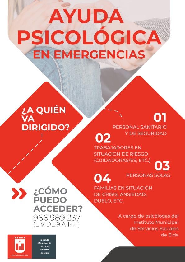 El Ayuntamiento de Elda pone en marcha un servicio telefónico de asistencia psicológica