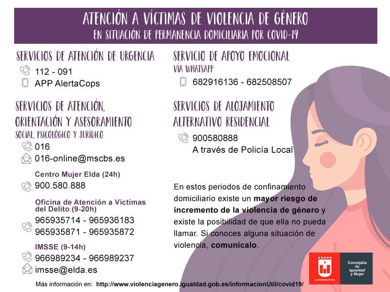 El Ayuntamiento de Elda mantiene la atención a las víctimas de violencia de género durante el estado de alarma