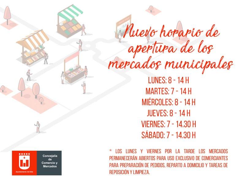 Los Mercados Municipales de Elda adaptan sus horarios a la declaración del estado de alarma