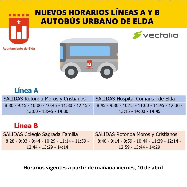 El Ayuntamiento de Elda y Vectalia mejoran a partir de mañana los horarios de las líneas A y B de transporte urbano