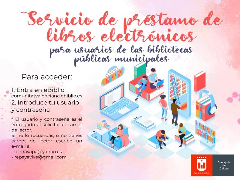 La Concejalía de Cultura habilita el acceso al préstamo de libros electrónicos a los socios de las bibliotecas públicas municipales