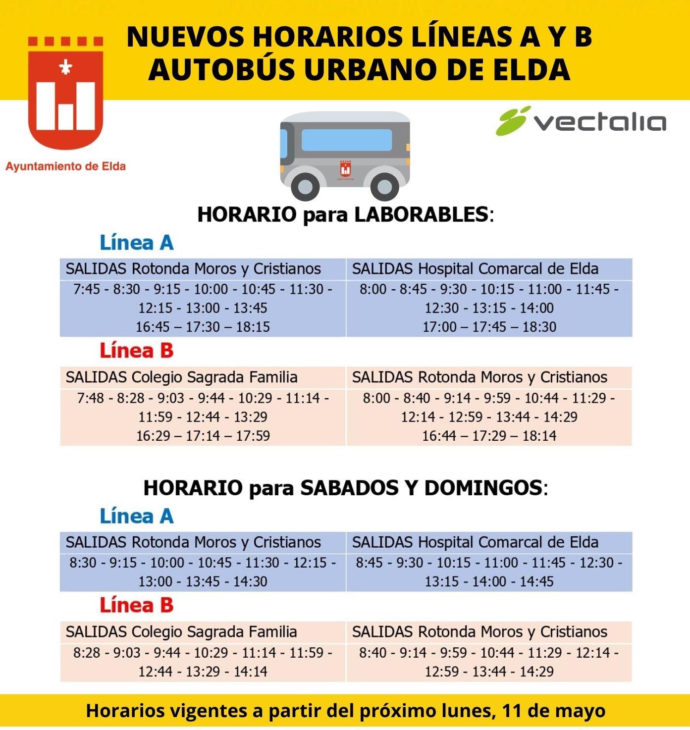 El Ayuntamiento de Elda y Vectalia amplía a partir del próximo lunes los horarios de las líneas A y B de transporte urbano