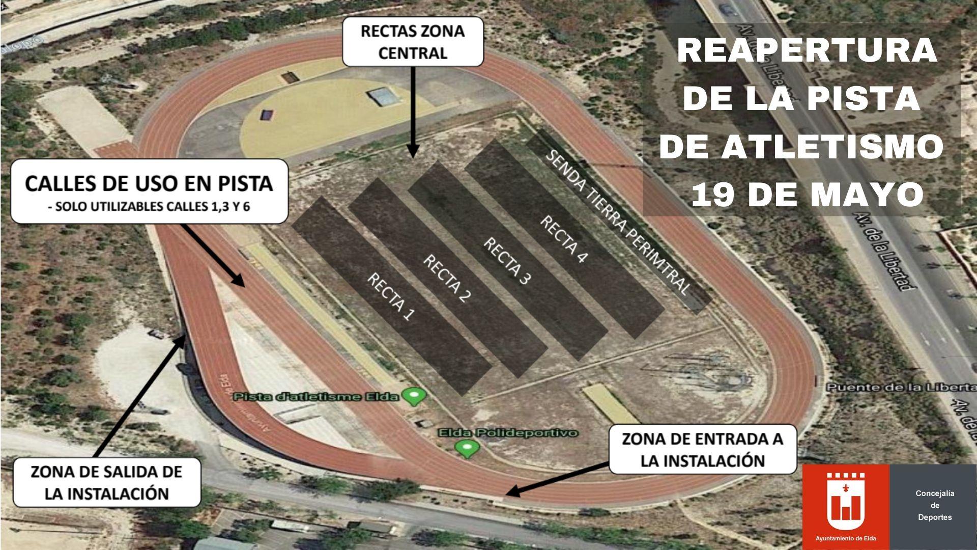 El Ayuntamiento de Elda reabrirá el próximo martes la Pista de Atletismo con unas estrictas medidas de seguridad y restricciones de horario y aforo