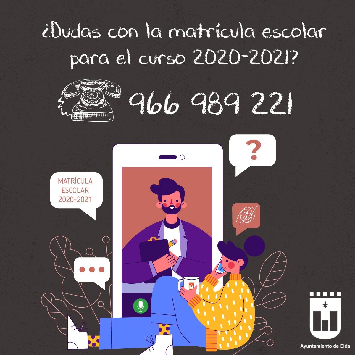 La Concejalía de Educación habilita un número de teléfono para aclarar dudas sobre la matriculación para el curso escolar 2020-21