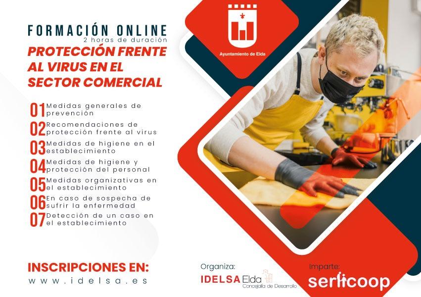 Los comercios de Elda que realicen el curso online de Idelsa sobre medidas de higiene y seguridad frente al coronavirus recibirán un vinilo acreditativo