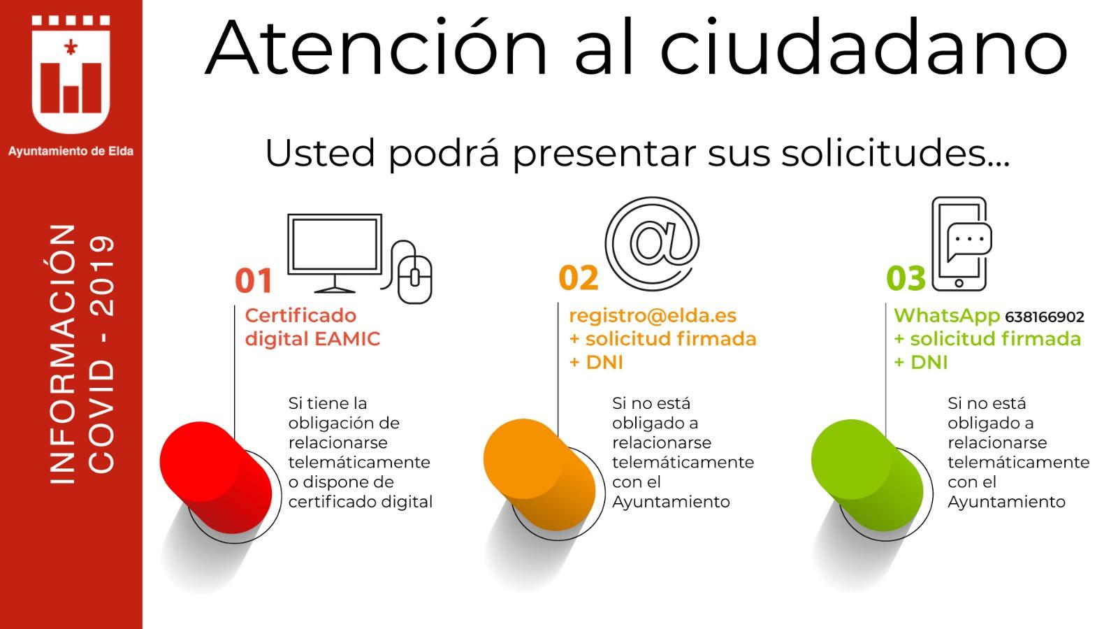 El Ayuntamiento de Elda pone en marcha nuevos canales para que la ciudadanía presente documentos de manera no presencial