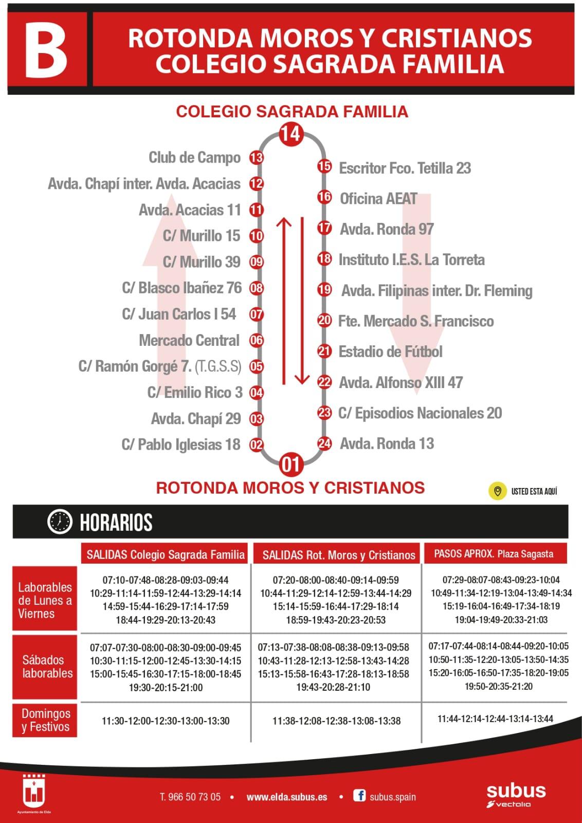 El Ayuntamiento de Elda y Vectalia normalizan a partir del próximo lunes los horarios de las líneas A y B de transporte urbano