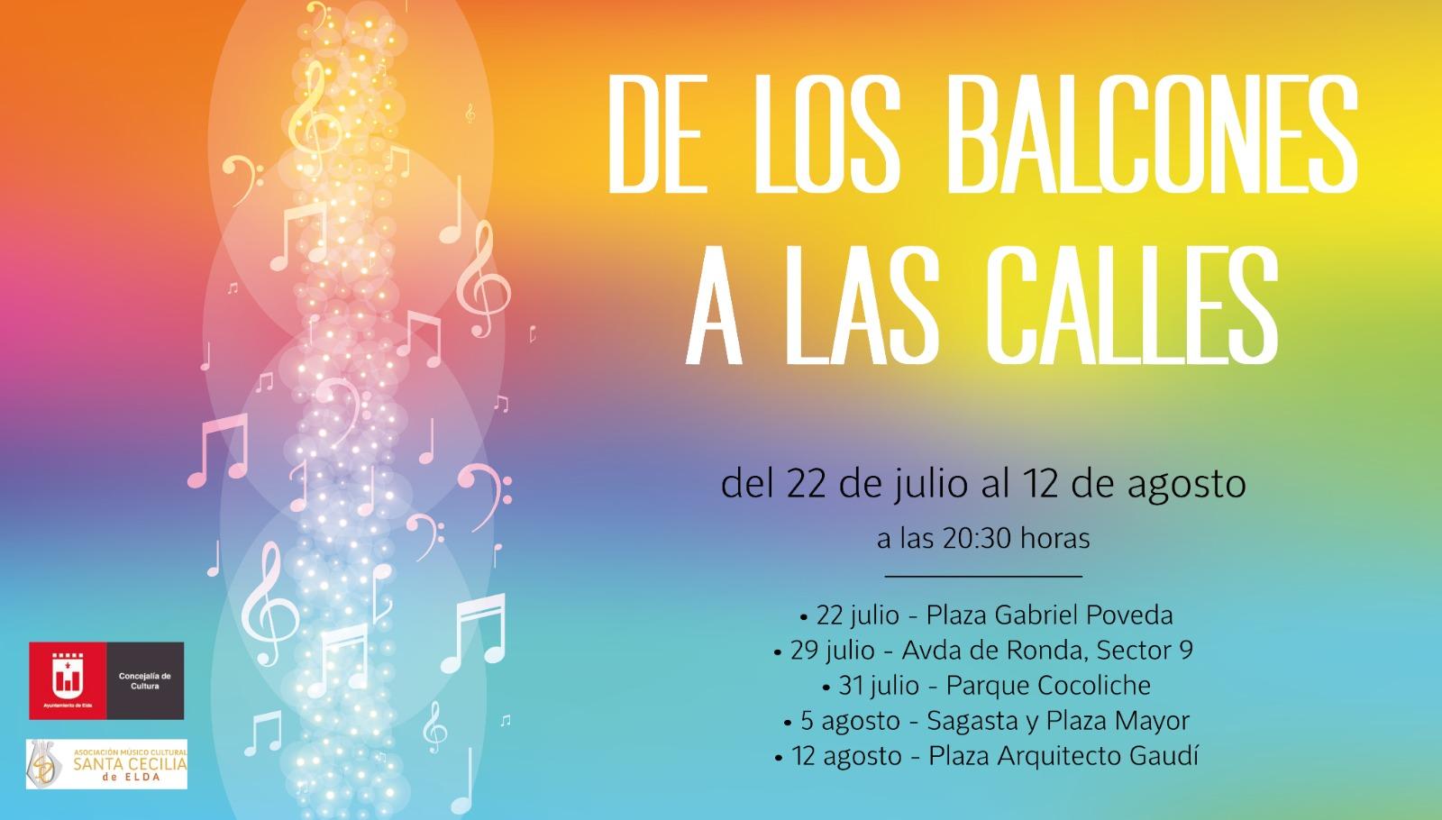 """La Concejalía de Cultura pone en marcha el ciclo de conciertos veraniegos """"De los balcones a las calles"""""""