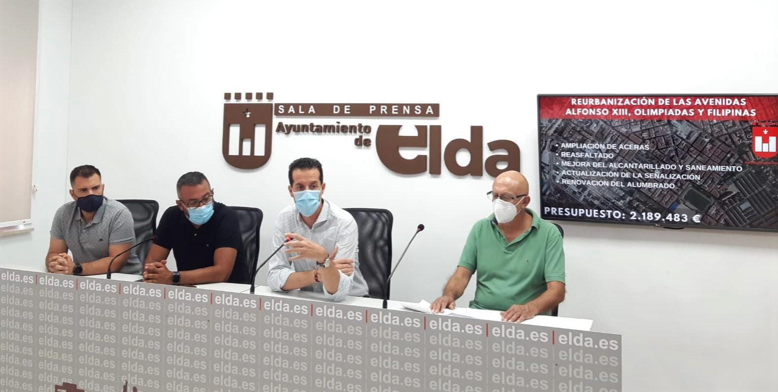 El Ayuntamiento de Elda acometerá la reforma integral del eje formado por las avenidas Alfonso XIII, de las Olimpiadas y Filipinas con una inversión de 2,2 millones de euros