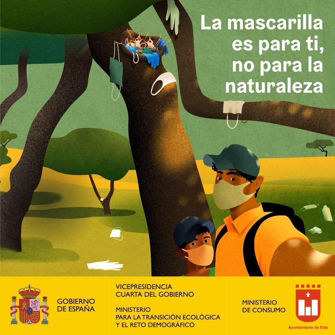 El Ayuntamiento de Elda se suma a la campaña para promover el uso responsable de las mascarillas en espacios naturales y sensibilizar sobre los efectos de su abandono