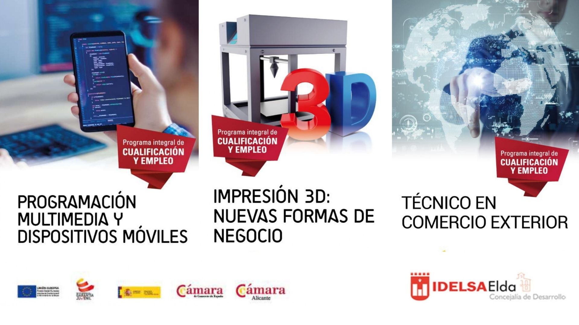 El Ayuntamiento de Elda ofrece tres cursos de formación de la Cámara de Comercio destinados a jóvenes sin empleo