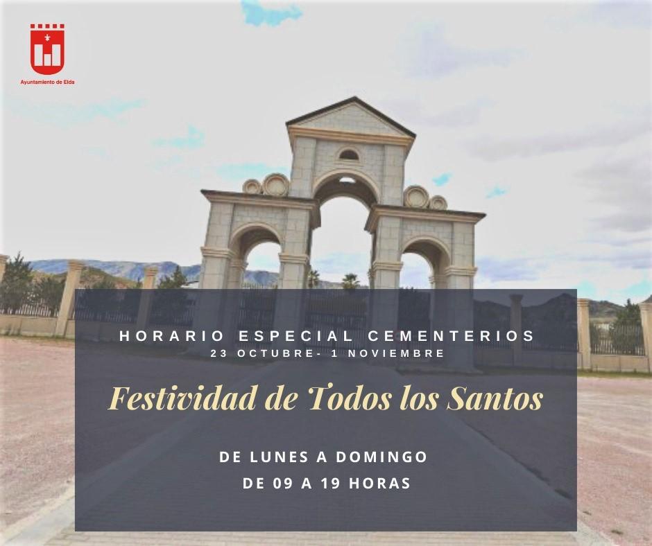 Los cementerios municipales de Elda adaptan su horario y las medidas sanitarias ante la festividad de Todos los Santos