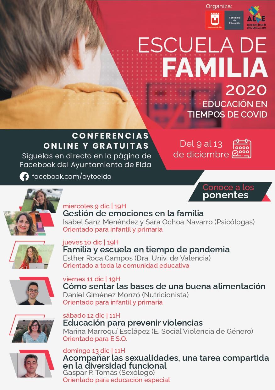 El Ayuntamiento de Elda organiza una Escuela de Familia para ayudar a los padres y madres a abordar la actual situación sanitaria y otros problemas relacionados con la educación