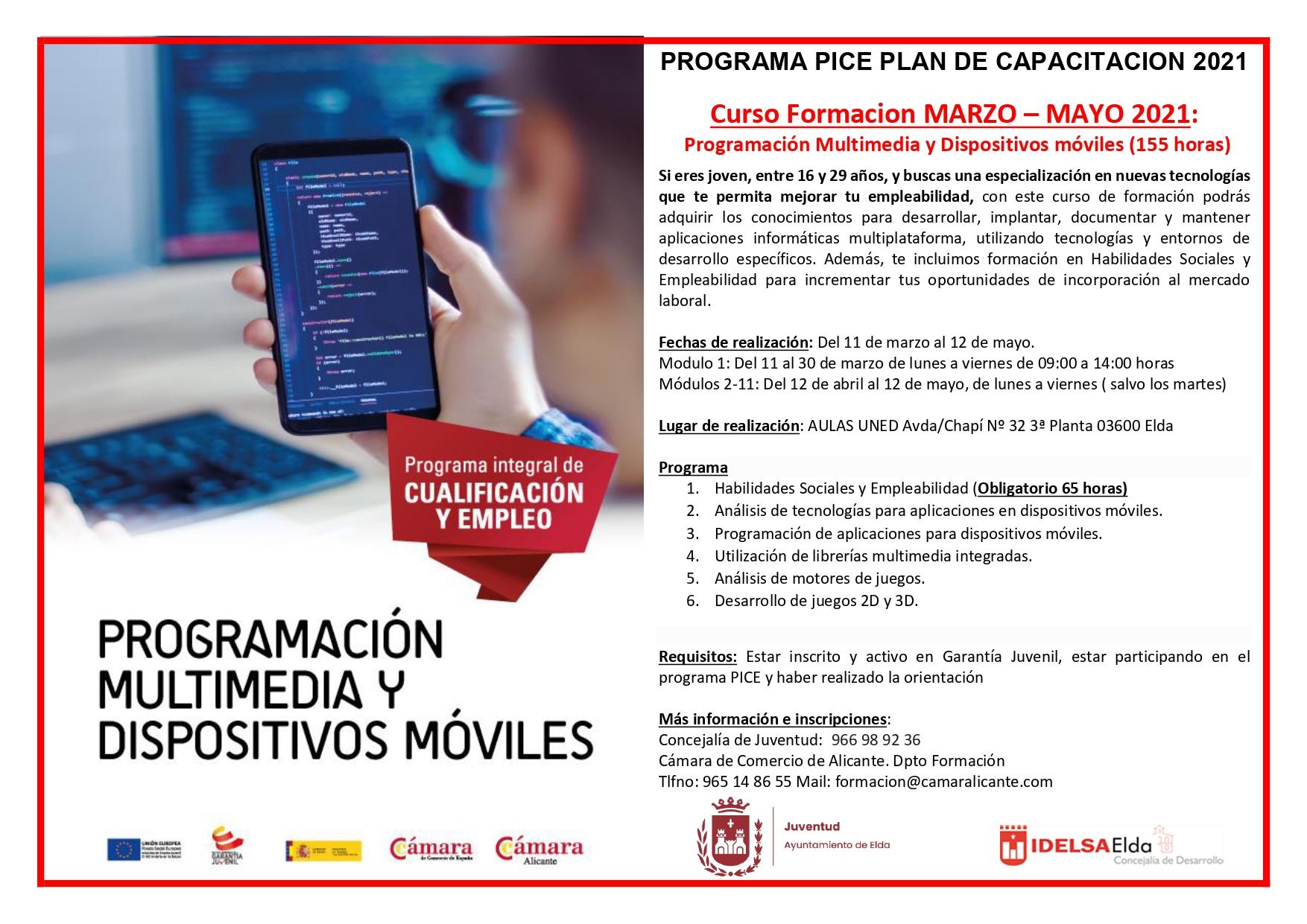 """El Ayuntamiento de Elda ofrece el curso """"Programación Multimedia y Dispositivos Móviles"""" destinado a jóvenes sin empleo"""