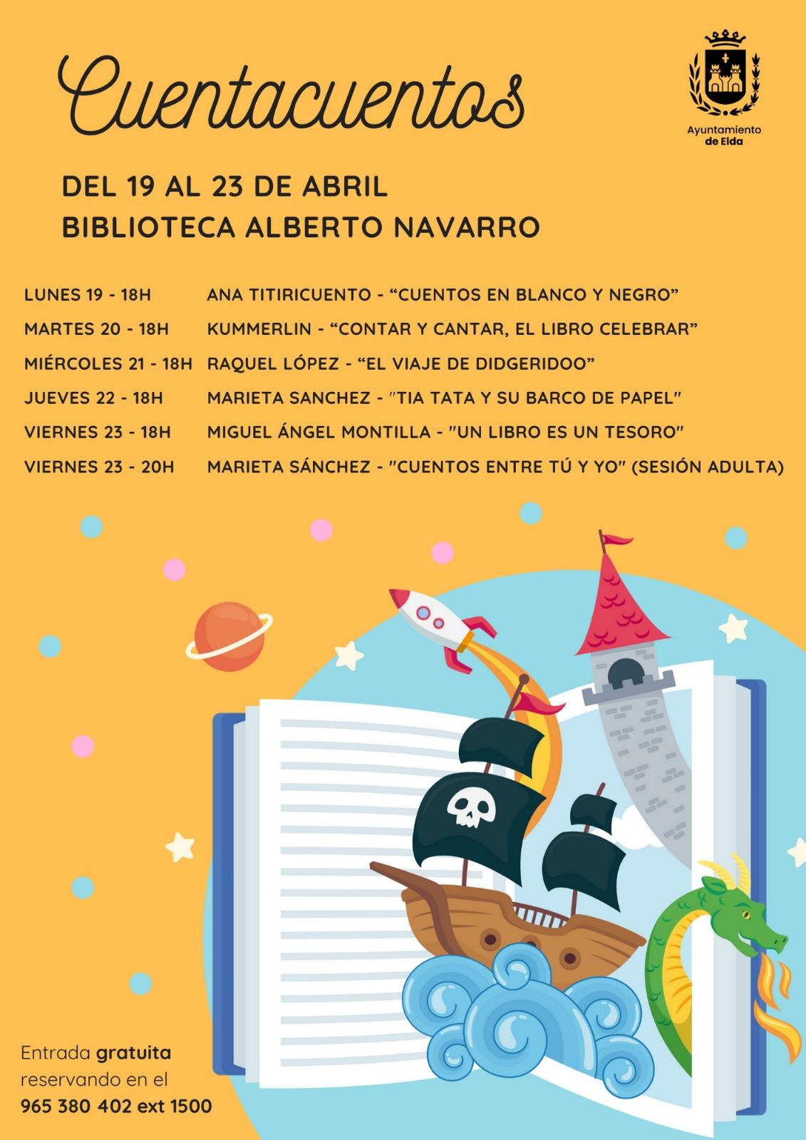 La Concejalía de Cultura celebra el Día del Libro con una semana de cuentacuentos en Elda y la entrega de libros gratuitos