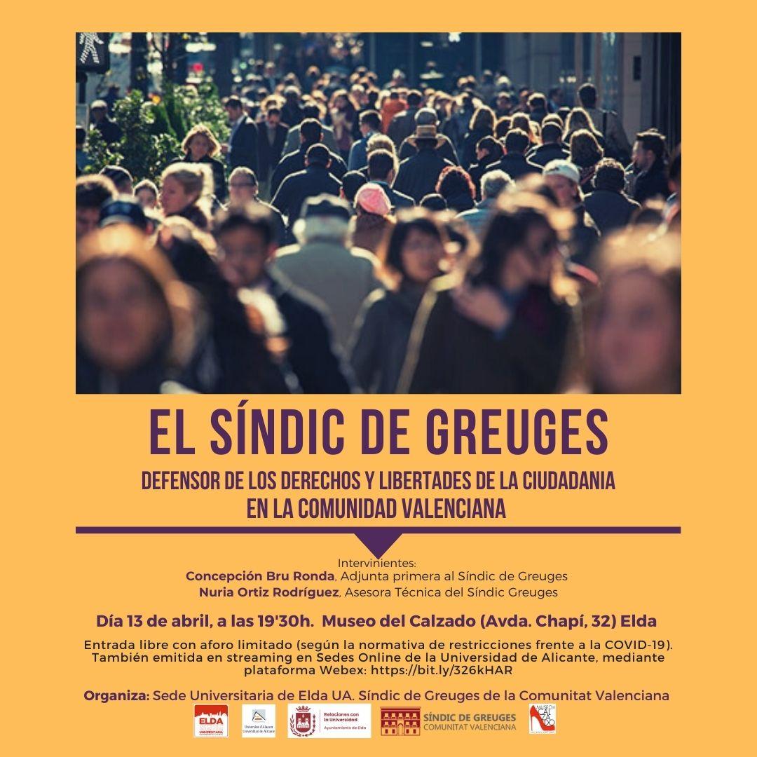 La Adjunta Primera al Síndic de Greuges ofrece en Elda una conferencia-coloquio para dar a conocer el funcionamiento de la institución
