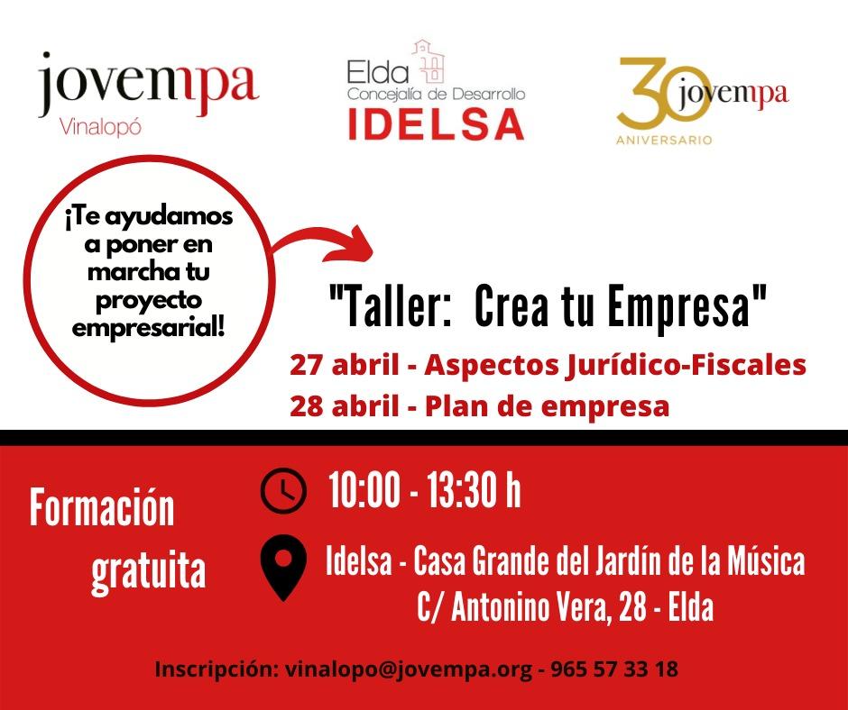 Idelsa y Jovempa ofrecen el ciclo de talleres 'Crea tu empresa' para ayudar a los jóvenes de Elda a poner en marcha una idea de negocio
