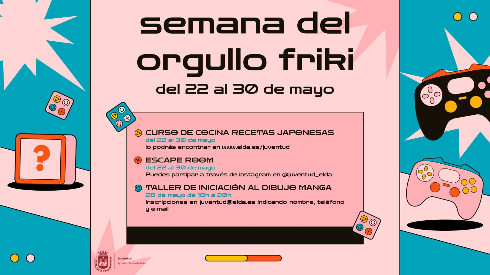 El Ayuntamiento de Elda organiza actividades culturales para jóvenes con motivo de la celebración del Día del Orgullo Friki