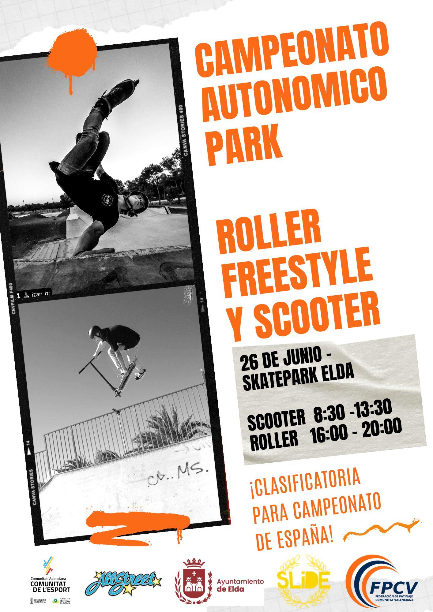 El Skate Park de Elda acogerá el sábado 26 de junio el Campeonato Autonómico de Roller Freestyle y Scooter Freestyle