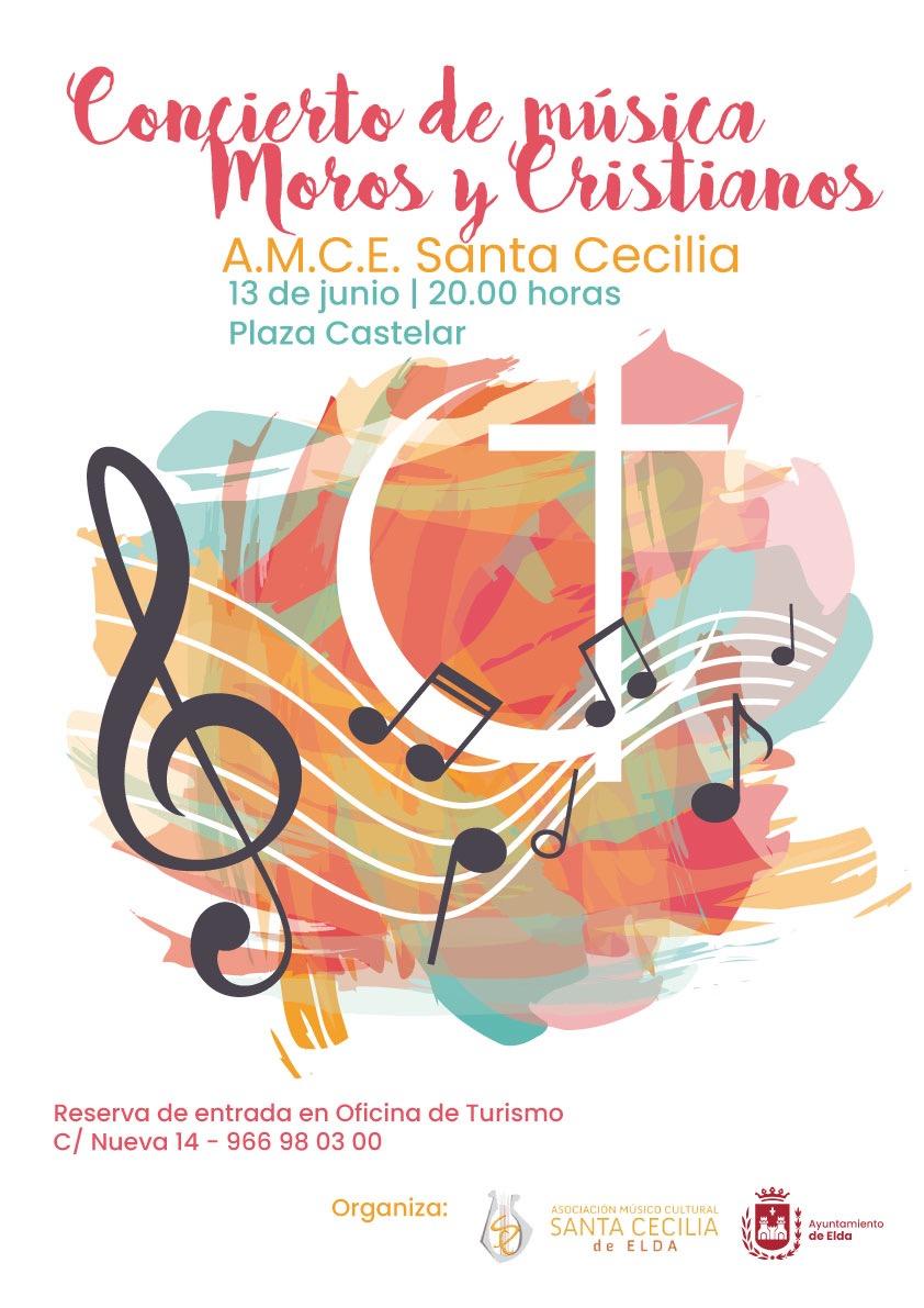 La AMCE Santa Cecilia ofrecerá el domingo 13 de junio un concierto de música festera para rememorar los Moros y Cristianos de Elda