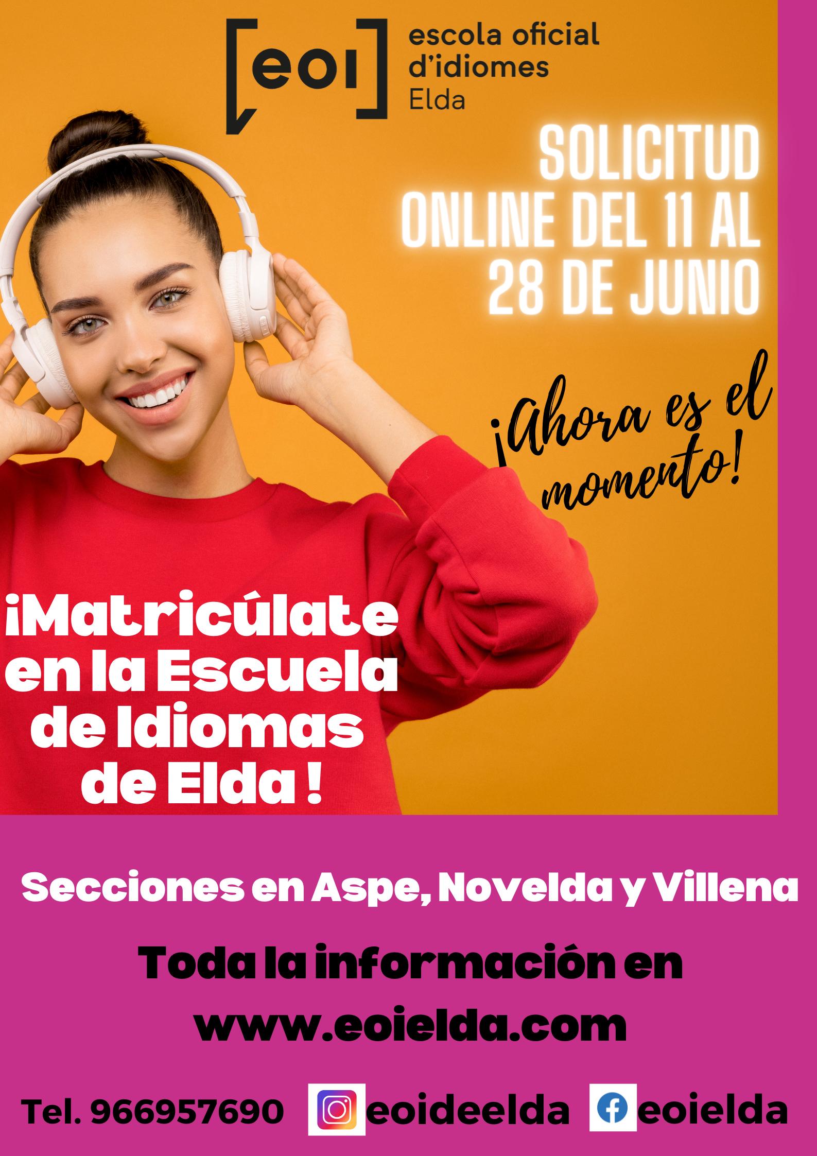 La Escuela Oficial de Idiomas de Elda abre el periodo de matriculación online para el próximo curso del 11 al 28 de junio