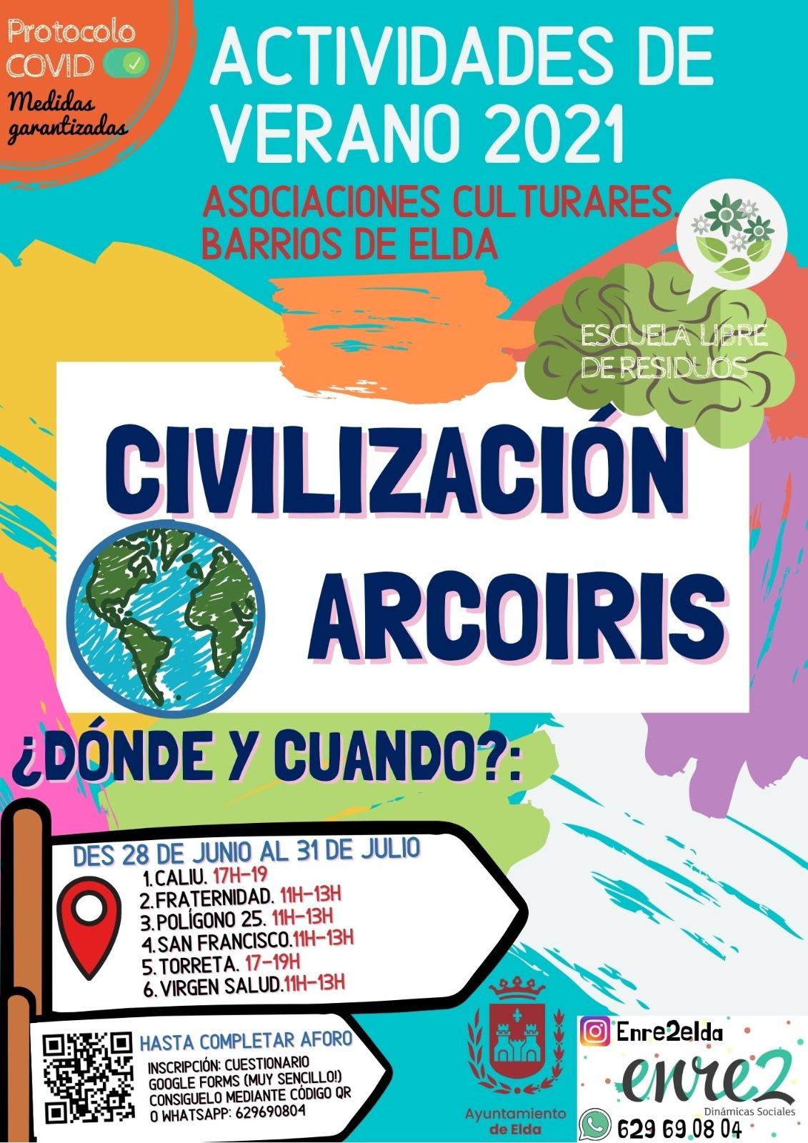 El Ayuntamiento de Elda ofrecerá actividades de verano en los centros sociales de los barrios bajo el nombre 'Civilización Arco Iris'