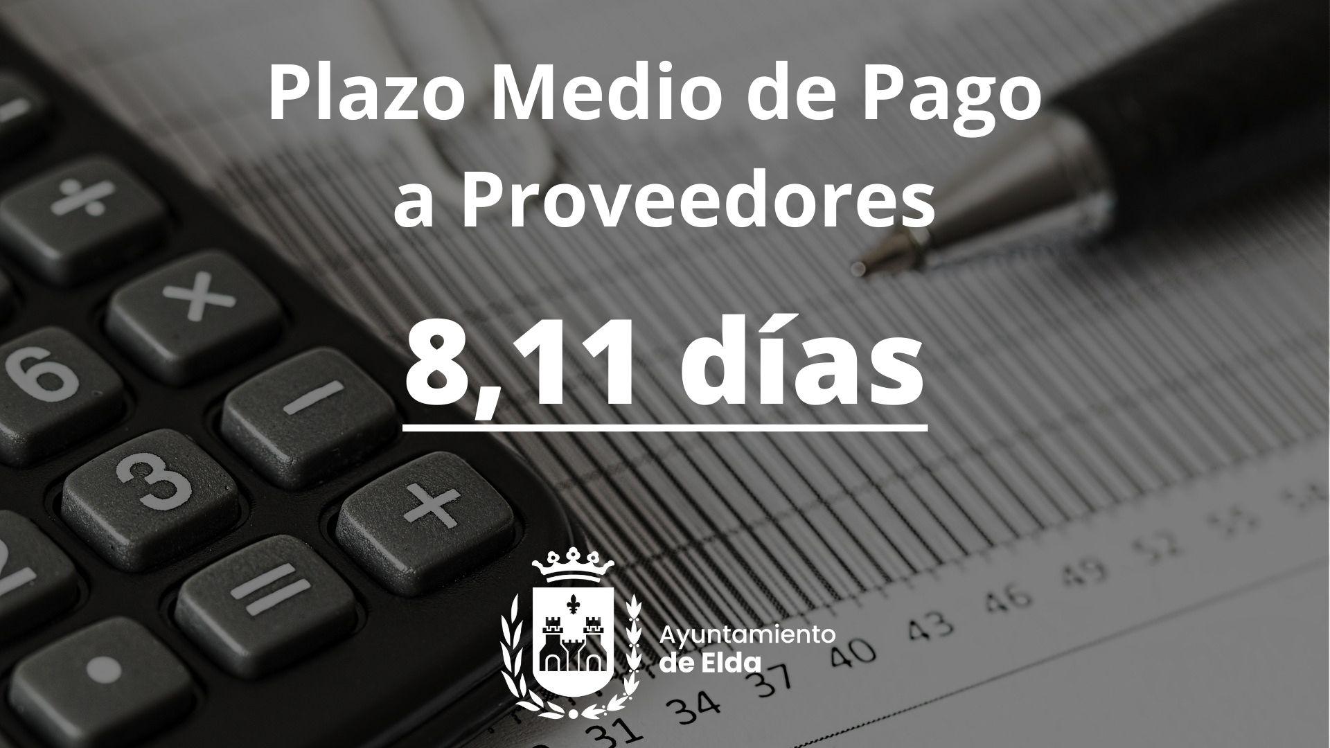 El Plazo Medio de Pago a proveedores del Ayuntamiento de Elda se sitúa en 8,11 días durante el segundo trimestre del año