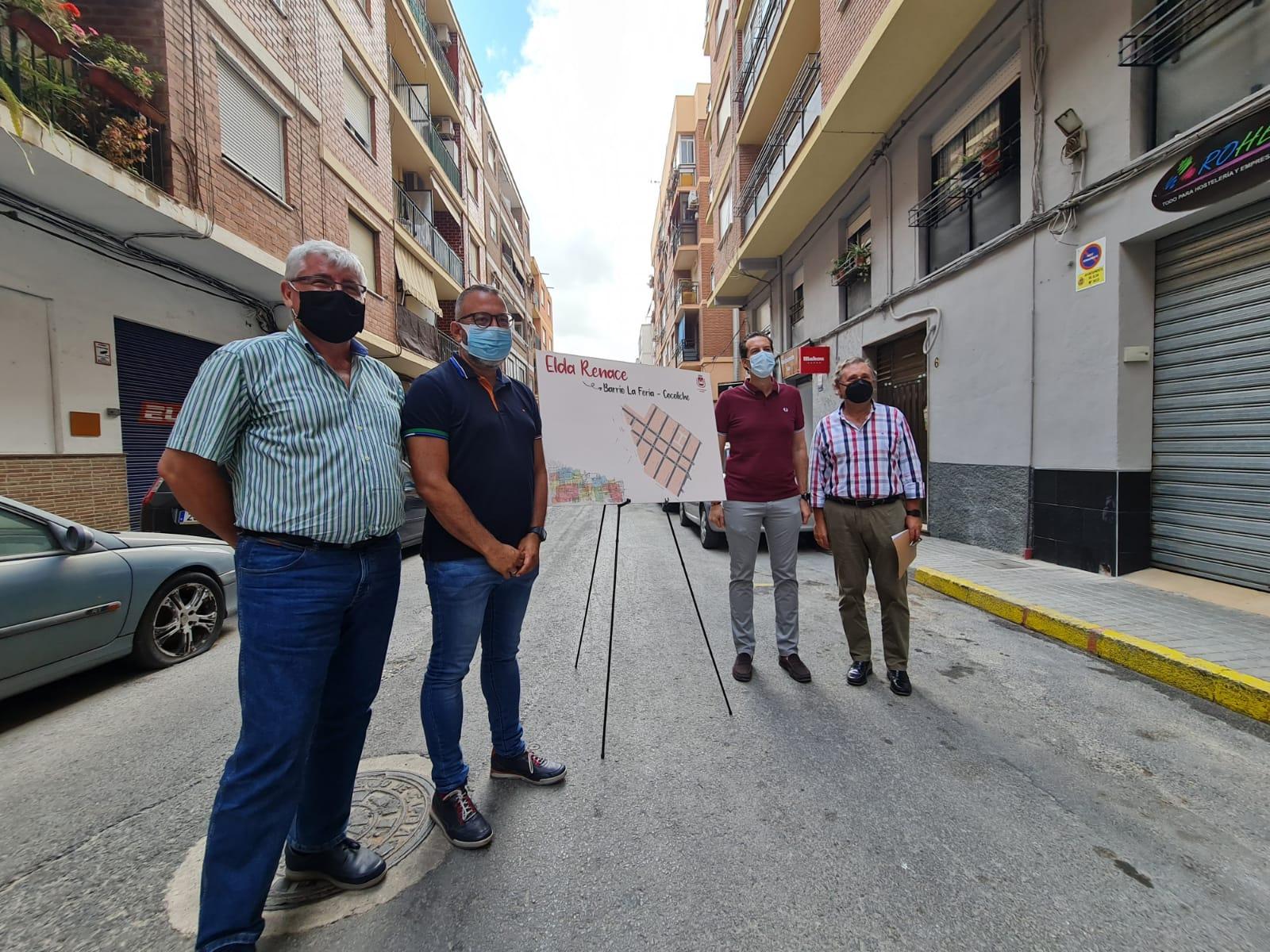 El Ayuntamiento de Elda humanizará el barrio de La Feria-Cocoliche con la reurbanización de 20.000 metros cuadrados de calles y aceras