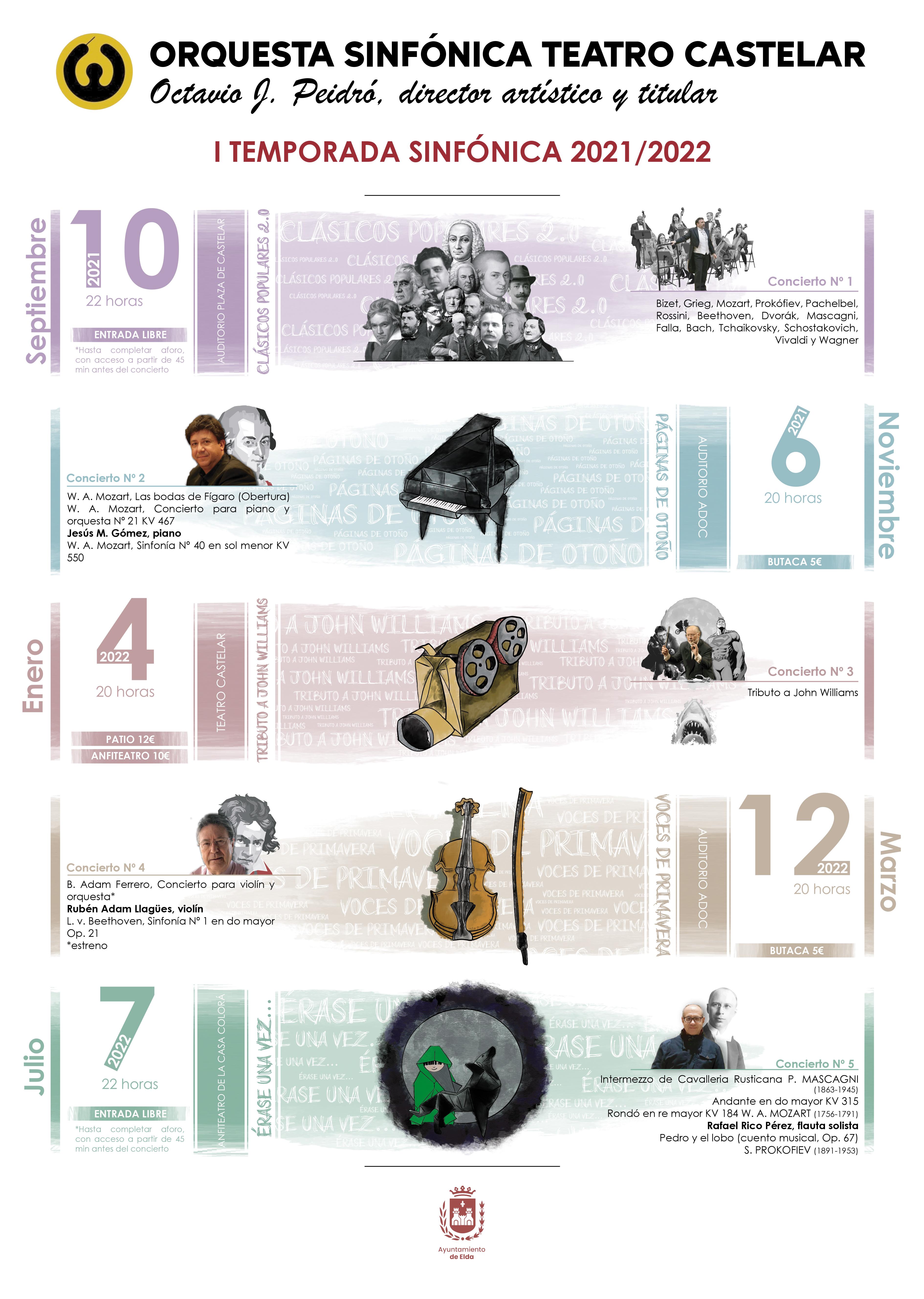 La Orquesta Sinfónica Teatro Castelar arranca el viernes su primera temporada de conciertos con una selección de 'Clásicos Populares'