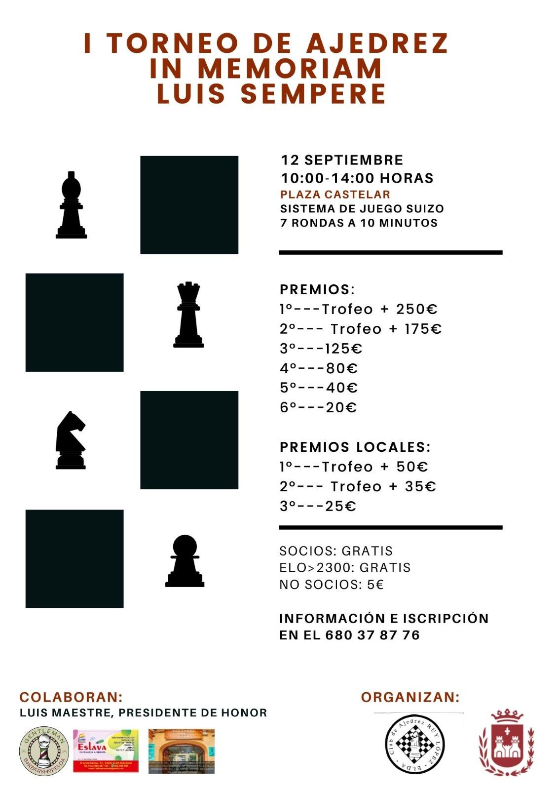"""El Ayuntamiento de Elda y el Club de ajedrez Ruy López organizan el I Torneo de Ajedrez """"In memoriam Luís Sempere"""""""