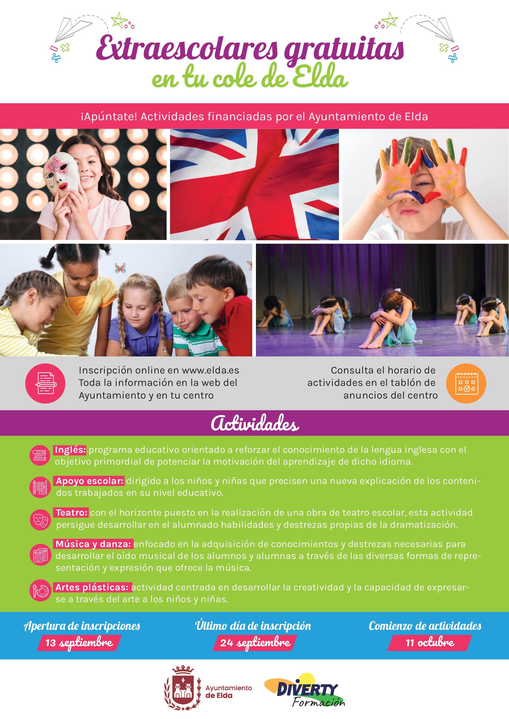 El próximo lunes se abre el plazo de inscripción de las actividades extraescolares gratuitas en los centros educativos públicos de Elda