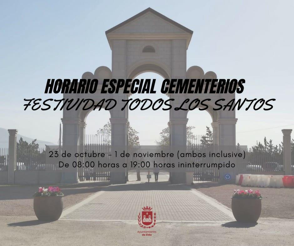 Los cementerios municipales de Elda amplían su horario desde el 23 de octubre hasta el 1 de noviembre por la festividad de Todos los Santos